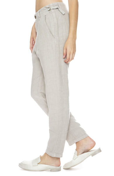 Linen Pants with Buckle Tab Waist