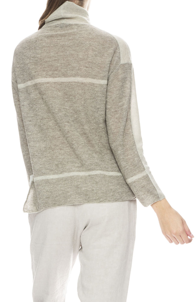 Pas De Calais Grey Mock Neck Wool Blend Pullover