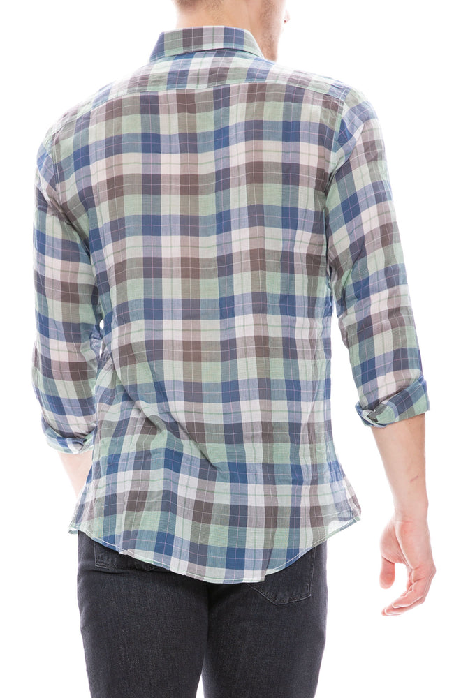 Today is Beautiful / Ron Herman Exclusive Mens Button Down Shirt in Blue / Green Plaid