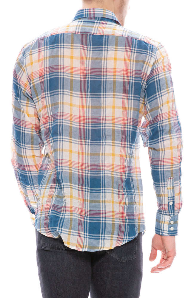 Today is Beautiful / Ron Herman Exclusive Mens Button Down Shirt in Blue / Yellow Plaid