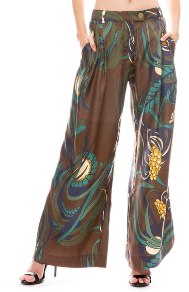La Prestic Ouiston Obviously Wide Leg Pants in Corail Marron Print
