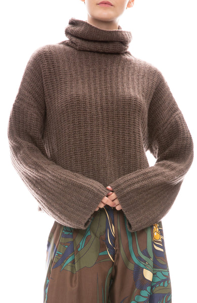 Sablyn Sunny Cashmere Turtleneck Sweater in Chocolate Brown
