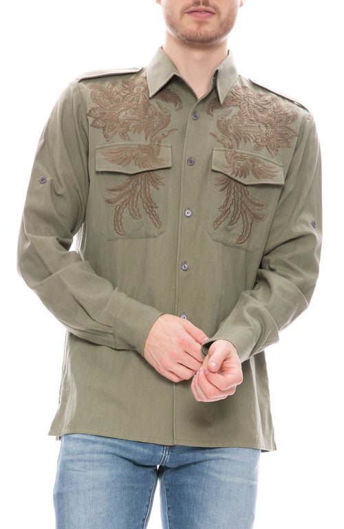 Embroidered Military Shirt