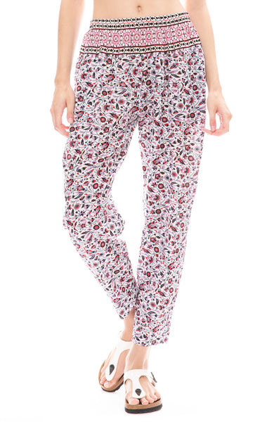 Xirena Payton Floral Print Gauze Pants in Electric Poppy