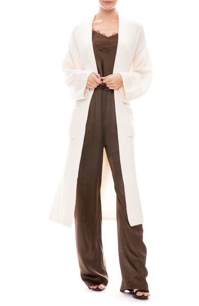 Sablyn Long Cashmere Cardigan in Winter White with Sablyn Camisole and Pants in Chocolate Brown
