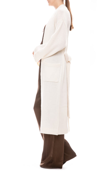 Sablyn Long Cashmere Cardigan in Winter White