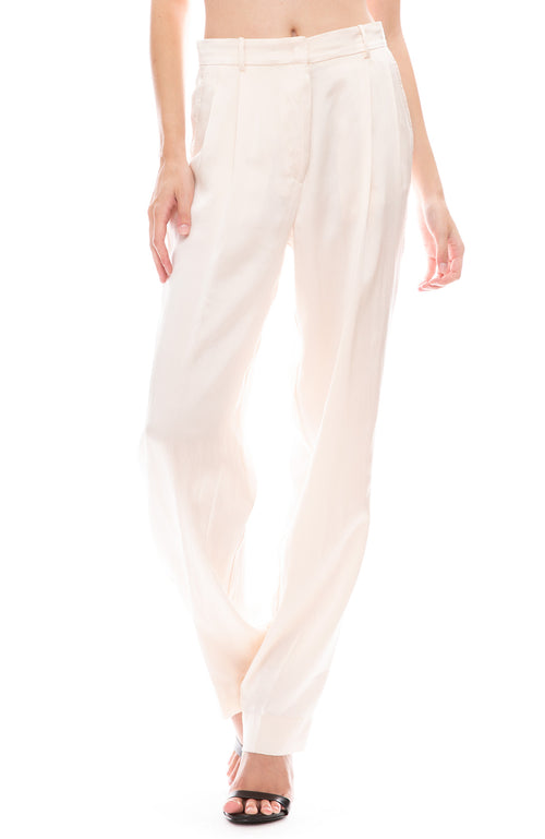 Forte Forte Cloquet Silk Pants in Avorio Light Pink