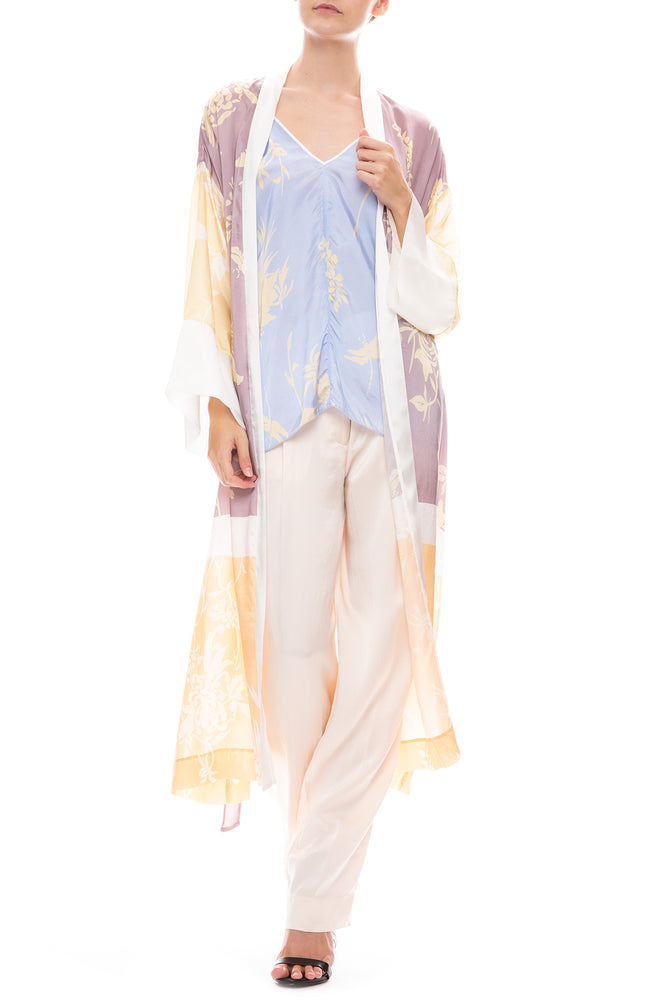 Forte Forte Cloquet Silk Pants in Avorio Light Pink with Forte Forte Kimono and Camisole