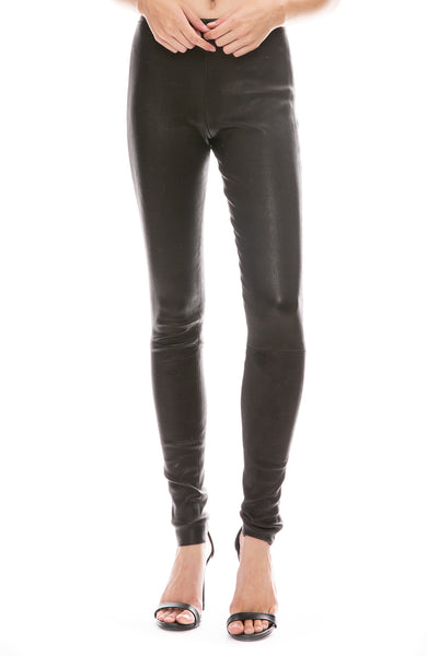 Margaux Lonnberg Chad Black Leather Pull On Pants