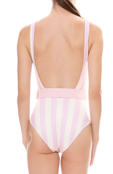 Solid & Stripe Anne-Marie Baby Pink and White Striped Belted One-Piece Swimsuit Back Detail View