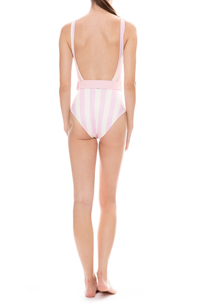 Solid & Stripe Anne-Marie Baby Pink and White Striped Belted One-Piece Swimsuit Back View