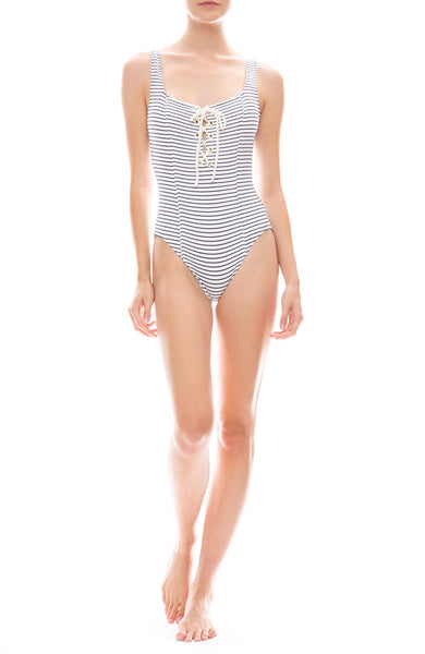 Solid & Striped Sophia One-Piece Navy and White Seersucker Swimsuit