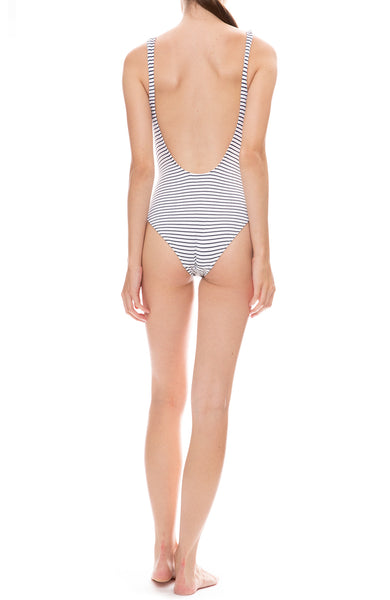 Solid & Striped Sophia One-Piece Navy and White Seersucker Swimsuit Back View
