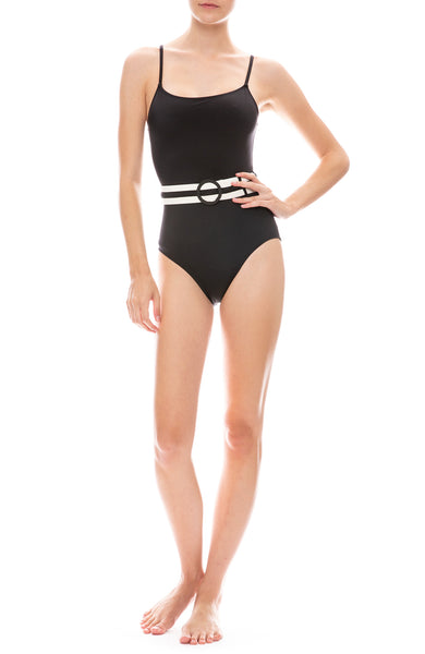 Solid & Striped Nina Belt One-Piece Swimsuit in Black