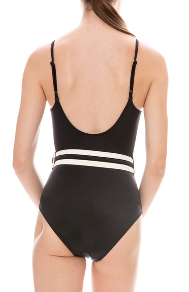Solid & Striped Nina Belt One-Piece Swimsuit in Black Back Detail View