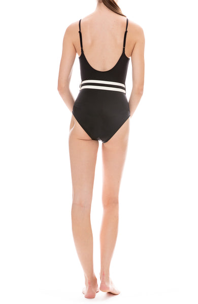 Solid & Striped Nina Belt One-Piece Swimsuit in Black Back View