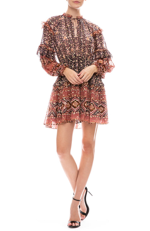 Ulla Johnson Erisa Long Sleeve Mini Dress in Midnight