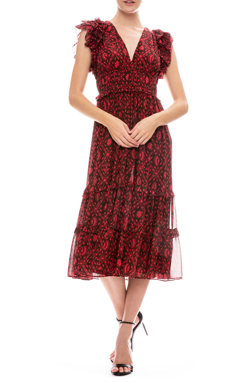Ulla Johnson Anika Sleeveless Midi Dress in Fuchsia Print
