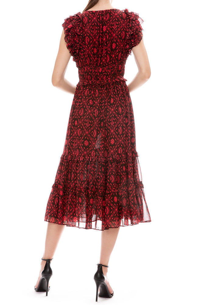 Ulla Johnson Anika Sleeveless Midi Dress in Fuchsia Print Back View