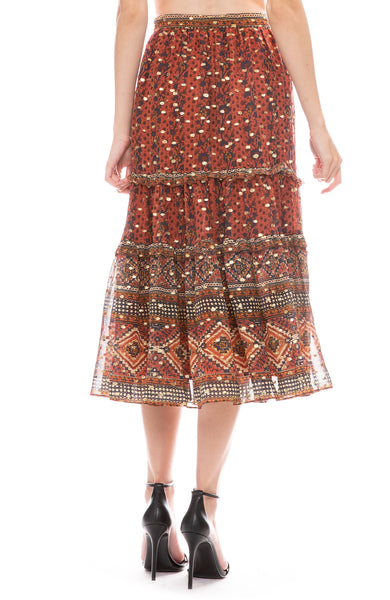 Ulla Johnson Thea midi skirt with a tiered ruffle and abstract print back view