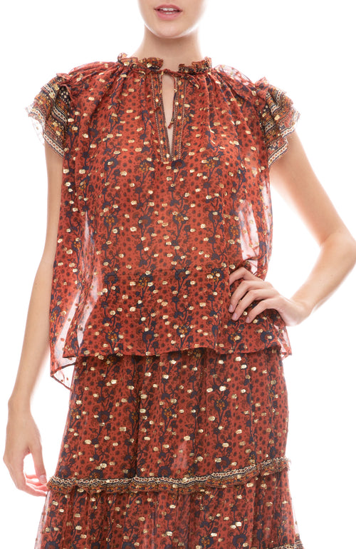 Ulla Johnson sleeveless Kosta blouse with metallic detail in brick