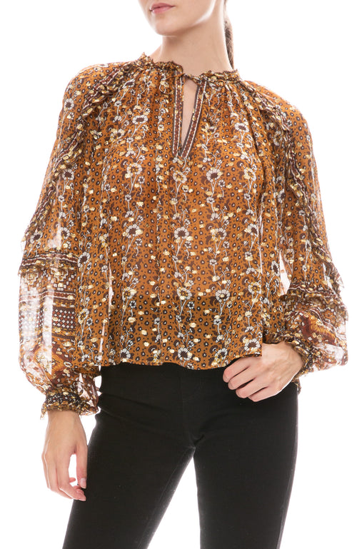 Ulla Johnson Calista blouse in Indian floral printed dot lurex georgette.