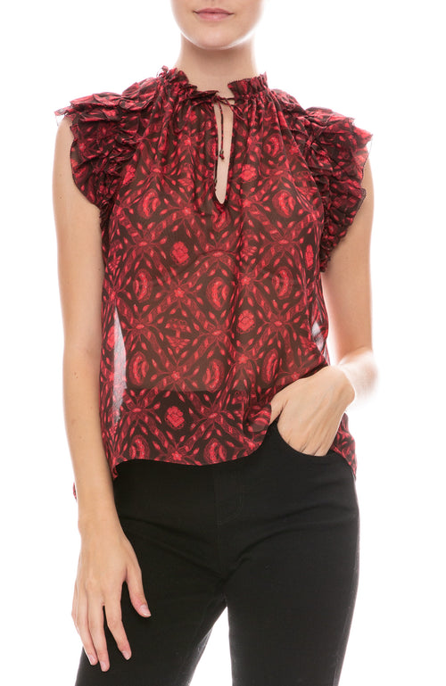 Ulla Johnson sheer floral print blouse with short flutter sleeves in fuchsia