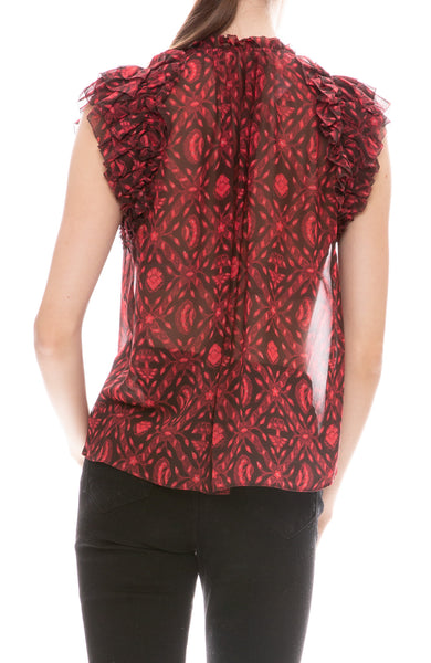 Ulla Johnson sheer floral print blouse with short flutter sleeves in fuchsia back view