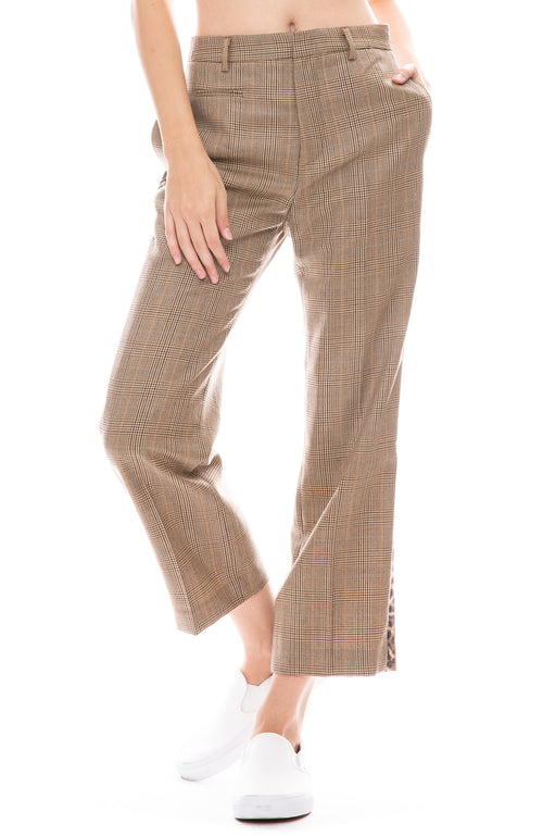 R13 Brown Glen plaid tuxedo pant with leopard stripe down sides