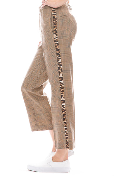 R13 Brown Glen plaid tuxedo pant with leopard stripe down sides side view