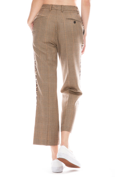 R13 Brown Glen plaid tuxedo pant with leopard stripe down sides back view