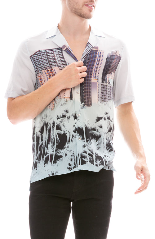 MX Paris by Maxime Simoens Building Palm Print Shirt