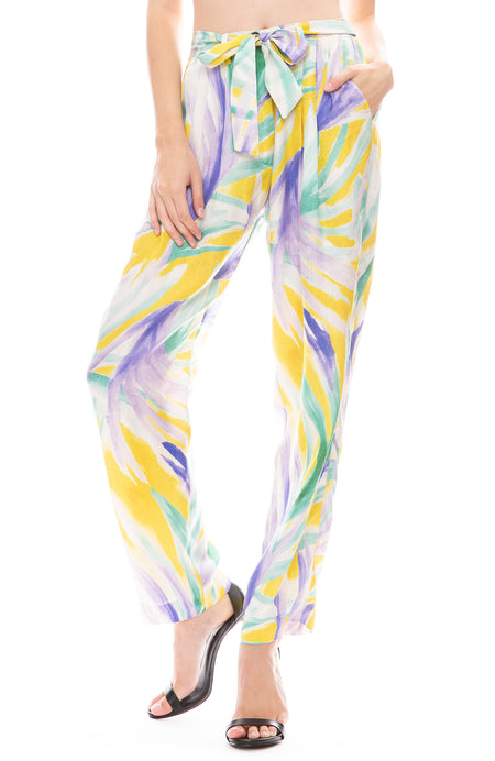 Panarea Print Satin Belted Pants