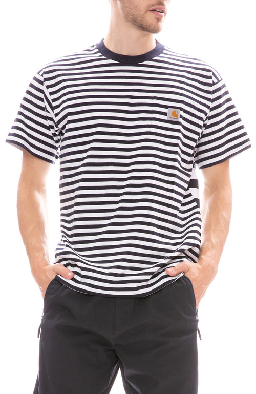 Carhartt WIP Barkley Navy and White Stripe Pocket Tee