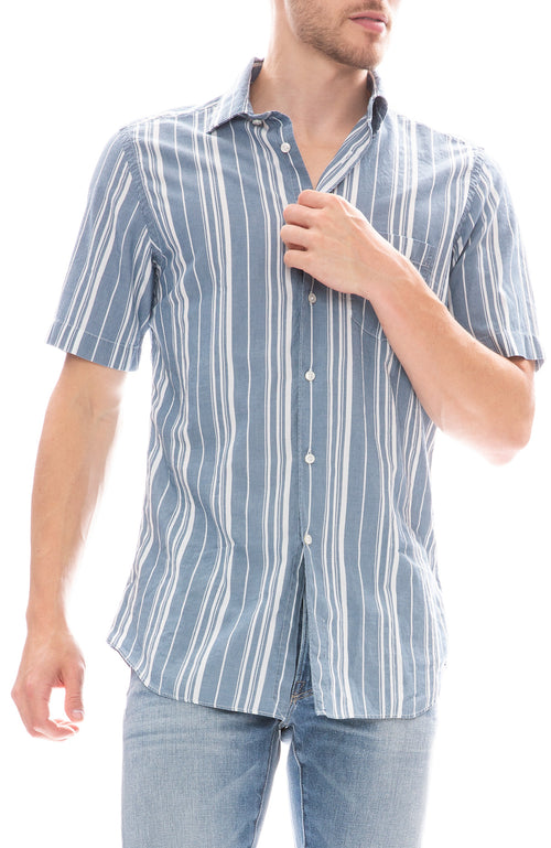 Today is Beautiful / Ron Herman Exclusive Multi Bar Stripe Short Sleeve Shirt in Indigo