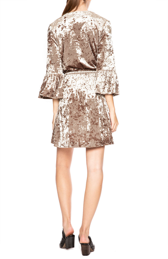 Riley Crushed Velvet Wrap Dress in Mink