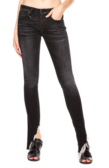 Kate Angled Hem Skinny Jean in Dark Moon