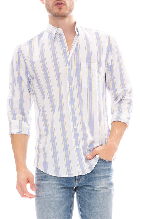 Don Wide Stripe Chambray Shirt