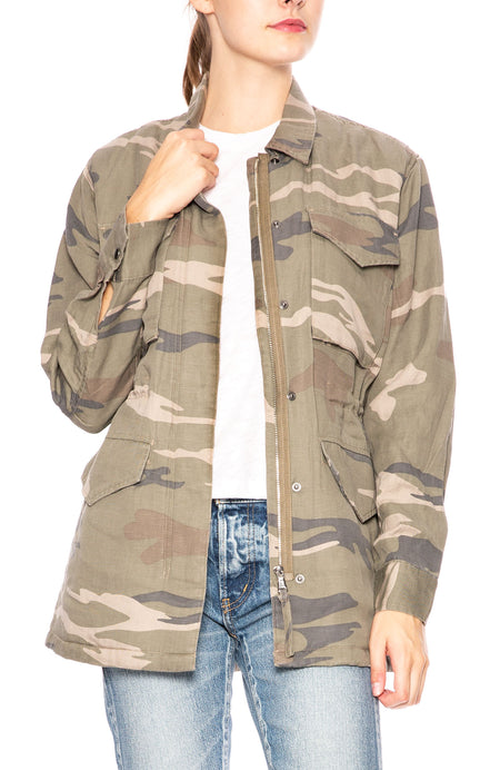 Faux Fur Lined Camo Jacket