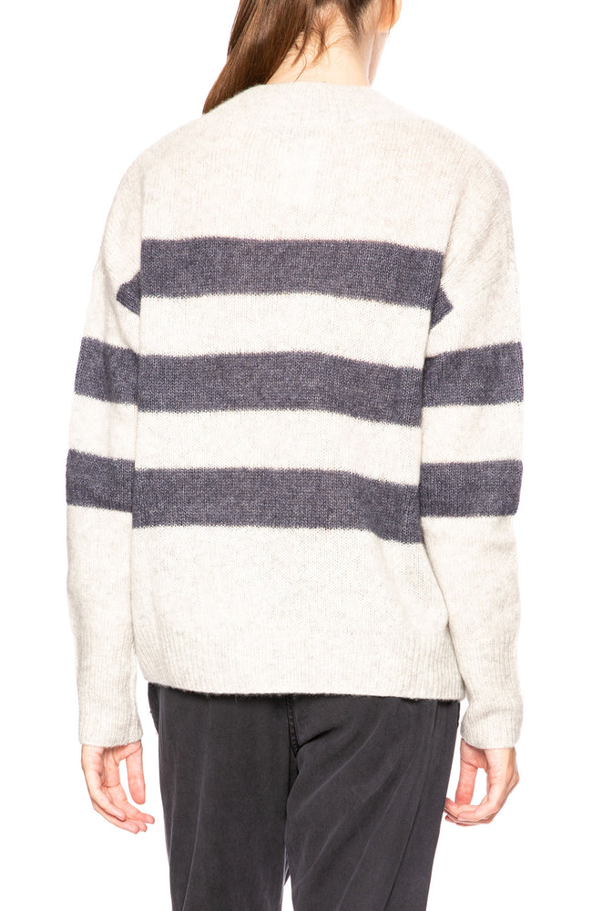 Rails Elise cashmere blend pullover sweater with wide stripes and metallic accents at Ron Herman