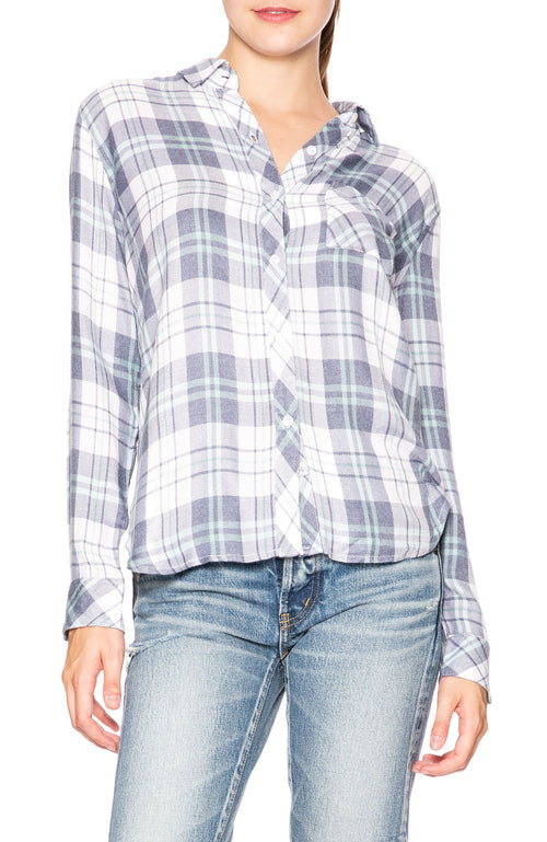 Rails Hunter Button Down Shirt in White, Mint and Indigo Plaid at Ron Herman