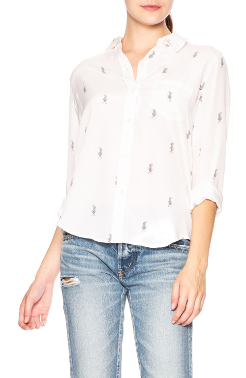 Rails Kate Silk Mini Tiger Print Button Down Shirt at Ron Herman