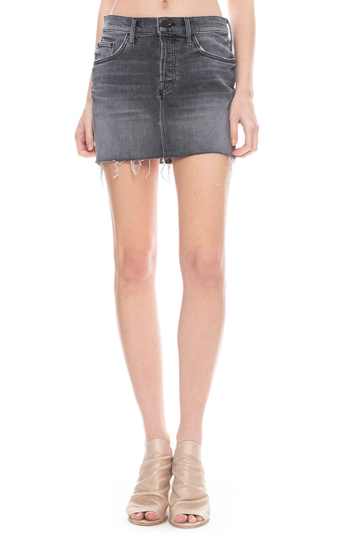 Mother Vagabond Frayed Mini Skirt in Pedal to the Medal