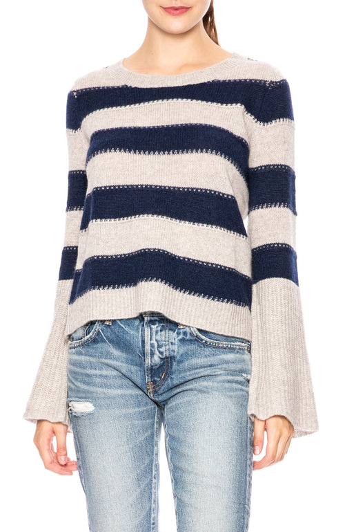 White + Warren Bell Sleeve Striped Cashmere Sweater at Ron Herman