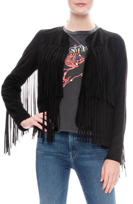 Faux Suede Double Fringe Jacket
