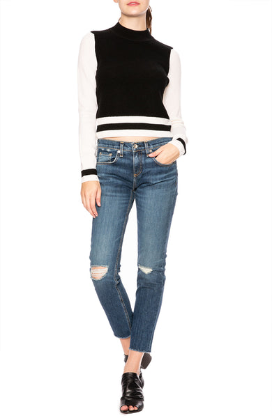 Rag & Bone Dean Fine Knit Wool Sweater with Stripe Hem and Sleeve Cuffs at Ron Herman