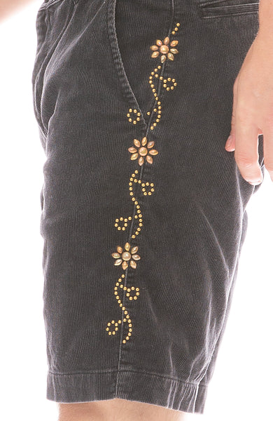 Corduroy Flower Stud Short