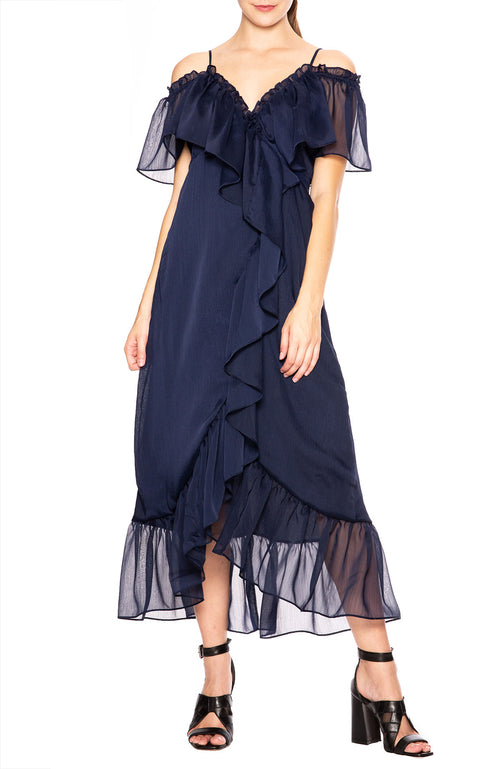 Misa Los Angeles Tayla Midi Dress in Navy at Ron Herman