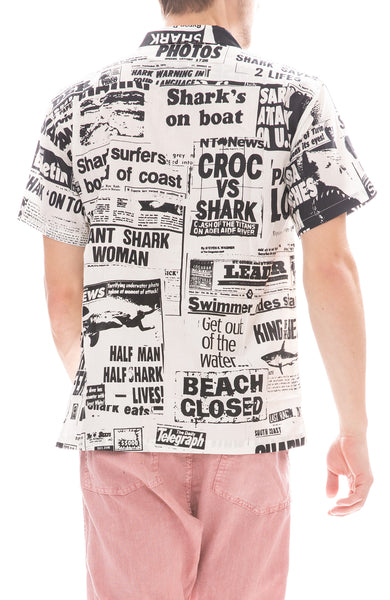 Short Sleeve Newspaper Print Shirt