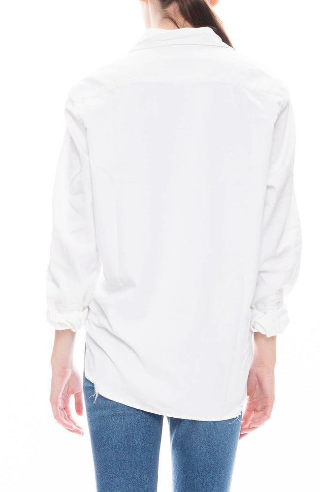 Frank & Eileen Womens Solid Stonewashed Eileen Shirt in White